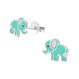 Zilveren kinderoorbellen: olifant