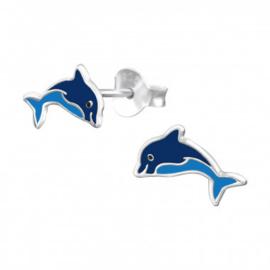 Kinder oorbel sterling zilver 925 dolfijn