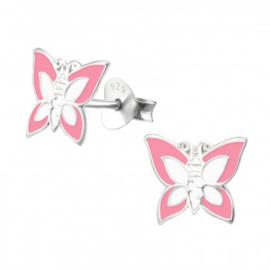 Zilveren kinderoorbellen:  vlinder roze