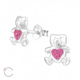 Zilveren kinderoorbellen: beertje roze swarovski kristal