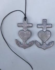 Geloof/Hoop/Liefde Loden-ornamentje 6x3,7cm MET of ZONDER koordje