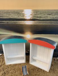 Strandcabine miniatuur 28x23x8,5 div kleuren