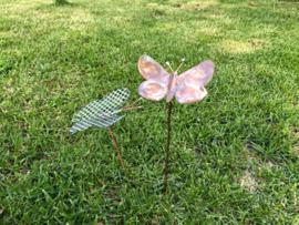 Vlinder van Koper op steel 9x8.5cm