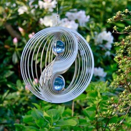 Windspinner Yin Yang Rvs - 23,5cm  + 2x glaskogel 35mm