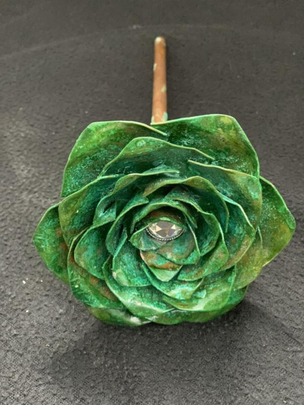 Roos Koper groen met steel 23,5x10x4,5cm