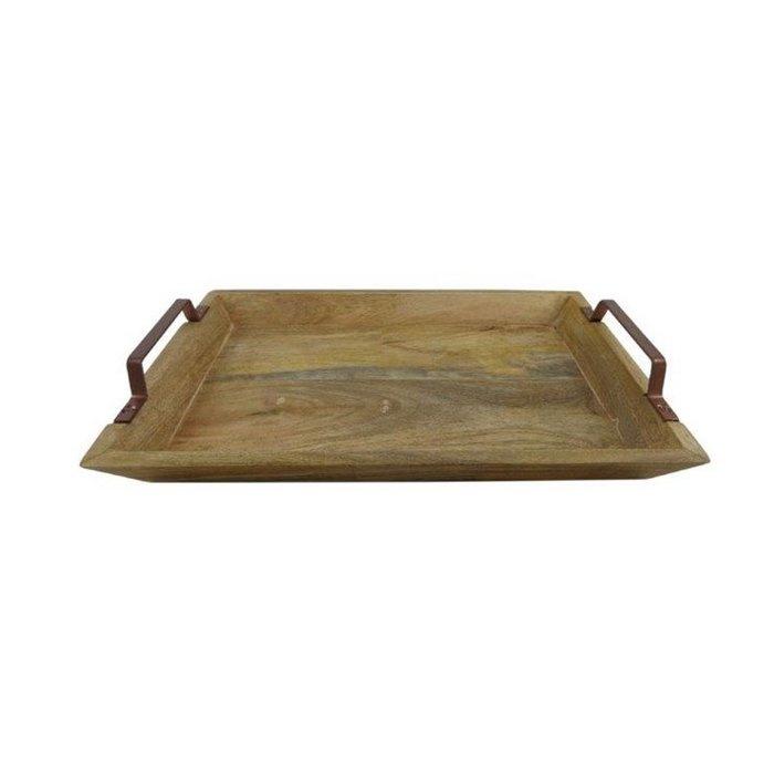 Dienblad hout met koperen handvatten