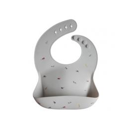 Mushie silicone slabbetje (gray safari)
