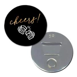"""Opener/Magneet """" Cheers"""" zwart/goud"""