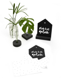 Zwarte kaart huisje 'Pluk het geluk' met bedrukte envelop