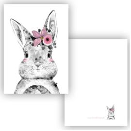 Lieve konijn meisje! A7-formaat