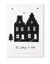 Cadeaukaartje kerst 'Dit pakje is voor ...'