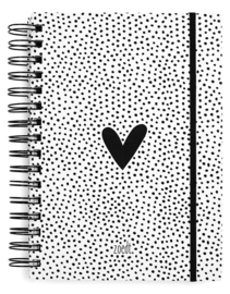Bullet journal hart met stippen patroon