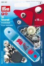 Prym Naaivrijdrukknoop Anorak 15mm - zilver