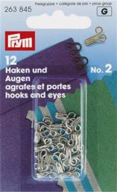 Prym Haken en Ogen Nr 2 - zilver