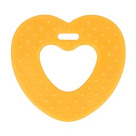 Bijtring hart met noppen 65mm - geel