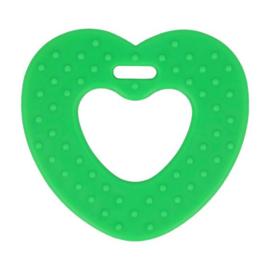 Bijtring hart met noppen 65mm - groen
