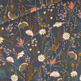 See you at Six - Flower Field Nachtblauw - Katoen Gabardine Twill