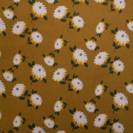 Retro Flower Moss Crepe - Oker
