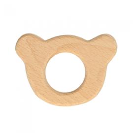 Houten berenhoofd ring
