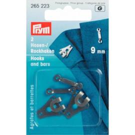 Prym Broek- en Rokhaken met staven 9mm - zwart
