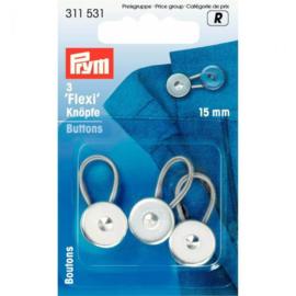 Prym Flexi-knopen met lus 15mm - zilver