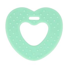 Bijtring hart met noppen 65mm - groen/blauw