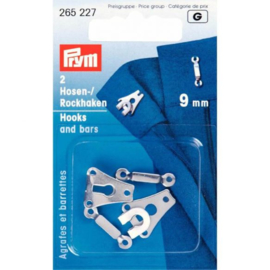 Prym Broek- en Rokhaken met staven 9mm - zilver