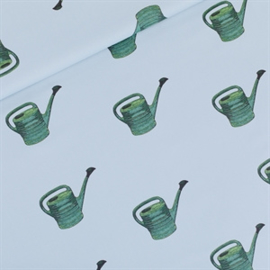 See you at Six - Watering Cans Mistblauw - Katoen Gabardine Twill