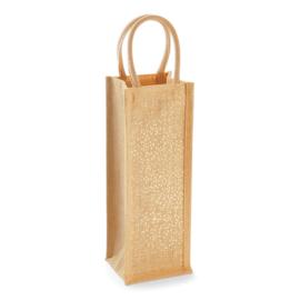 Shimmer Jute Bottle Bag - Gold