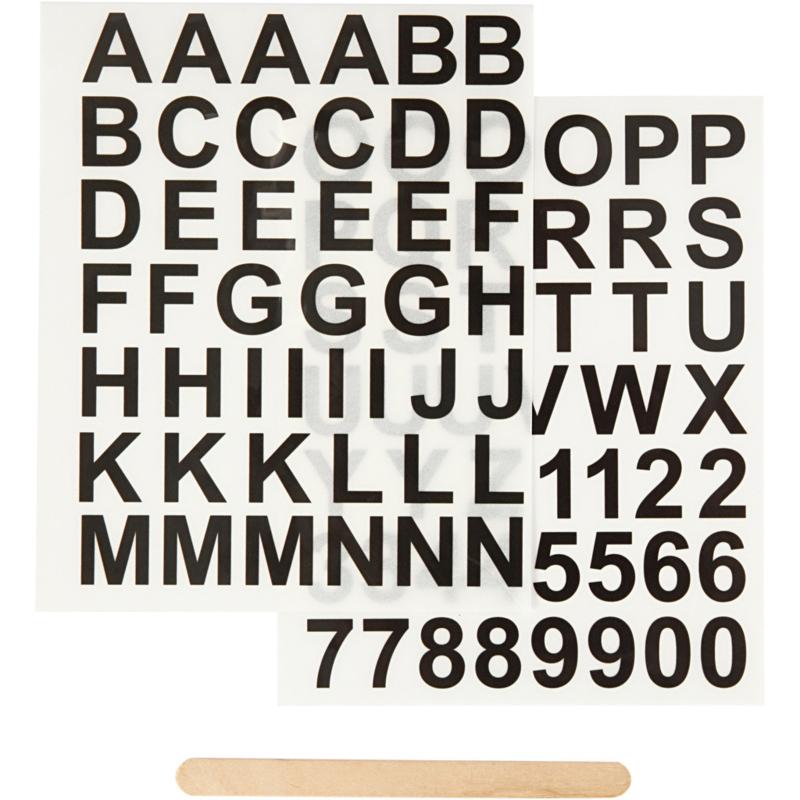 Rub-on Sticker, letters en cijfers