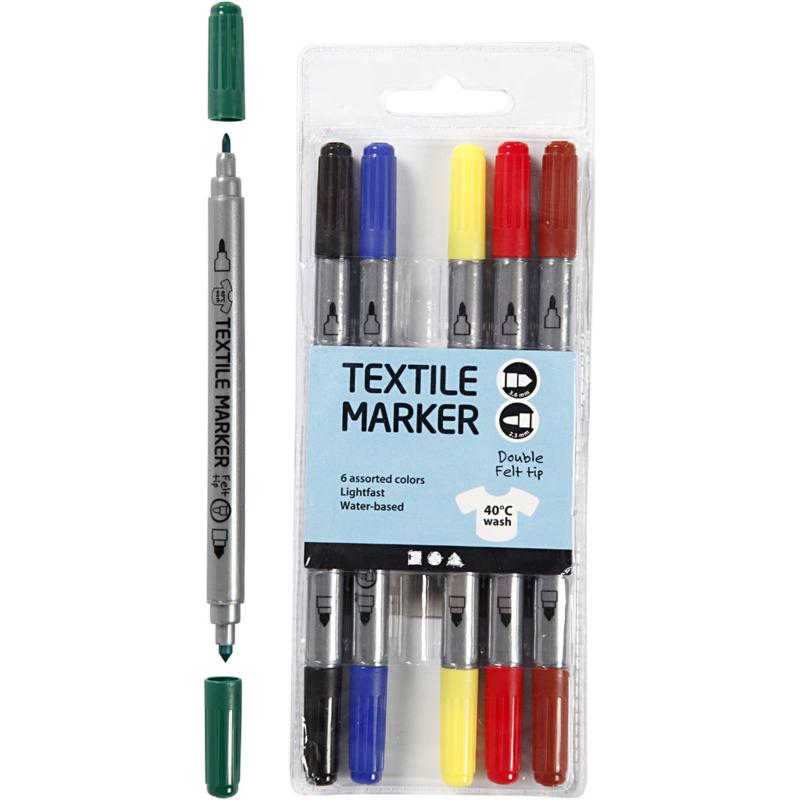 Textielstiften, standaardkleuren, 6 stuks