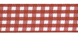 Lint - ruitjes - rood - 10mm - 5 meter