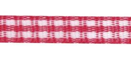 Lint - ruitjes - roze - 5mm - 5 meter