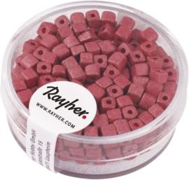 Rocailles vierkant - mat metallic - roze