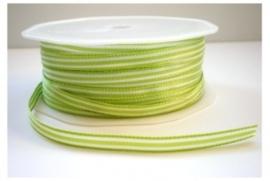 Lint - streepjes - groen & wit - 6 mm - 1 meter