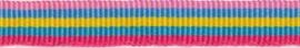 Lint - streepjes - roze & geel & blauw - 10 mm - 1 meter