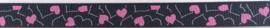 Lint - hartjes zwart & roze & wit - 10 mm - 1 meter