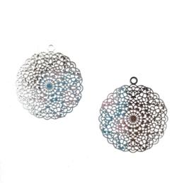 Ibiza-stijl hanger klein - zilverkleurig - 2 stuks