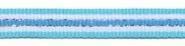 Lint - streepjes - blauw & wit & zilver - 10 mm - 1 meter