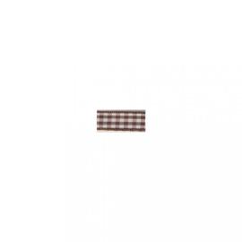 Lint - ruitjes - bruin - 10mm - 10 meter
