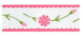 Lint - bloemen wit & roze - 16 mm - 1 meter