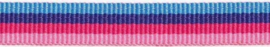 Lint - streepjes - roze & blauw - 10 mm - 1 meter