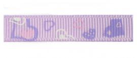 Lint - hartjes lila & paars & wit - 10 mm - 1 meter