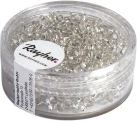 Rocailles rond - wit met zilverkern