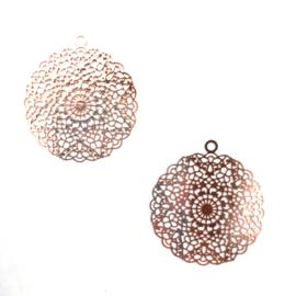 Ibiza-stijl hanger klein - rose goudkleurig - 2 stuks