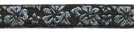 Lint - bloemen zilver & zwart - 12 mm - 1 meter