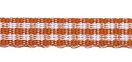 Lint - ruitjes - oranje - 5mm - 5 meter