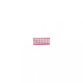 Lint - ruitjes - roze - 10mm - 10 meter