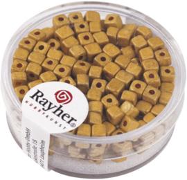 Rocailles vierkant - mat metallic - goudgeel