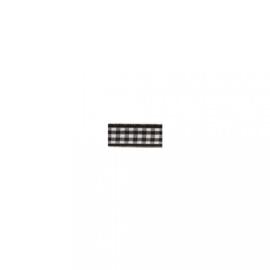 Lint - ruitjes - zwart - 10mm - 10 meter